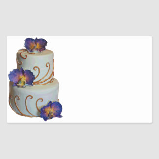 Wedding cake with gold and purple orchids rectangular stickers