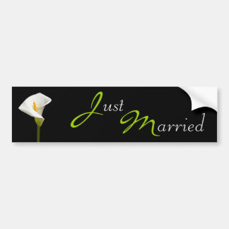 Wedding Cala Lily Black Bumper Stickers