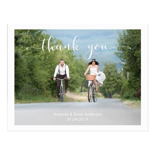 Wedding Calligraphy Thank You Photo Postcard