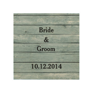 Wedding Canvas Bride and Groom with Wedding Date Wood Print