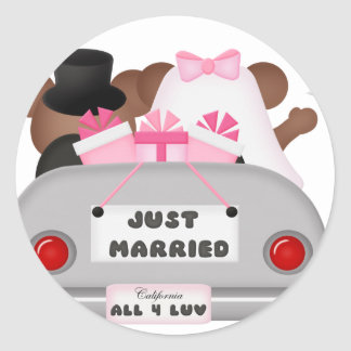 Wedding Car - Just Married Round Stickers