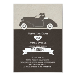 Wedding Car Two Groom Gay Wedding 13 Cm X 18 Cm Invitation Card