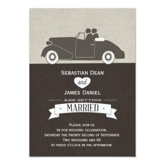 """Wedding Car Two Groom Gay Wedding 5"""" X 7"""" Invitation Card"""