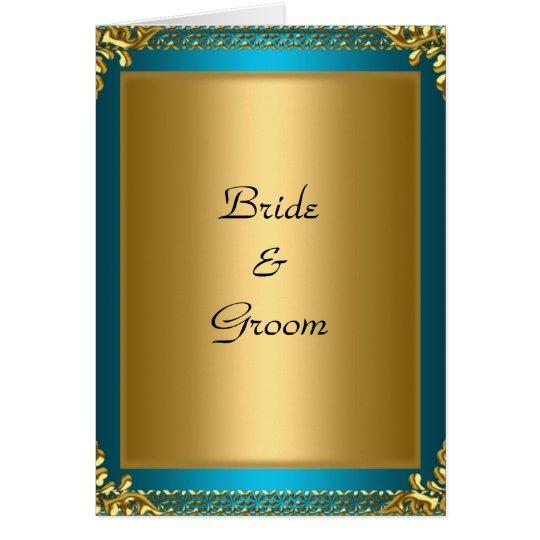 Wedding Card Invitation Gold Teal