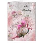 Wedding Card Pink Flowers Rings
