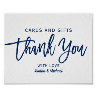 Wedding Cards & Gifts 8x10 Typography   Navy Blue Poster