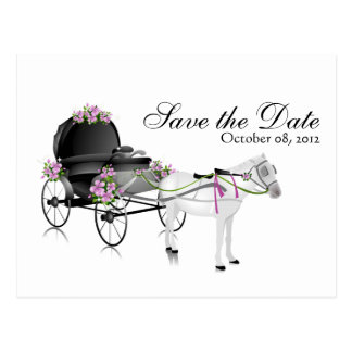 Wedding Carriage Save the Date Postcard