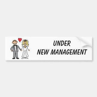 Wedding Cartoon - Under New Management Bumper Stickers