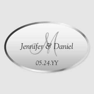 Wedding Celebration Artistic Custom Monogram Names Oval Sticker