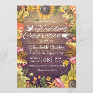 Wedding Celebration Autumn Maple Leaf Pumpkin Wood Invitation