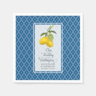 Wedding Celebration Navy Blue White Lemon Citrus Disposable Serviettes