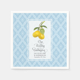 Wedding Celebration Navy Blue White Lemon Citrus Paper Serviettes