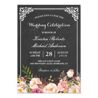 Wedding Celebration Vintage Pink Floral Chalkboard 13 Cm X 18 Cm Invitation Card
