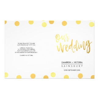 WEDDING CEREMONY hand lettered script gold spots 14 Cm X 21.5 Cm Flyer