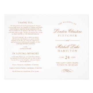 Wedding Ceremony Program   Copper Classic Elegance 21.5 Cm X 28 Cm Flyer