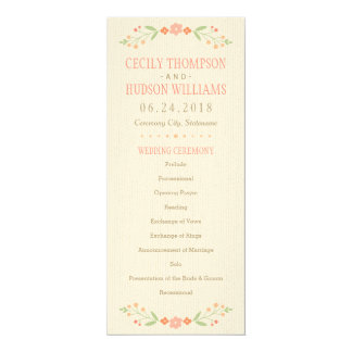 Wedding Ceremony Program | Country Florals Pink