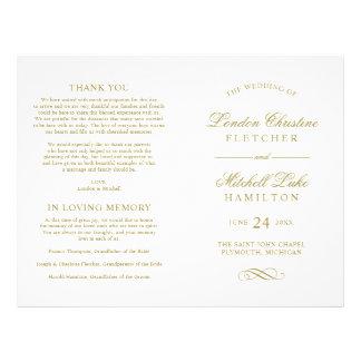 Wedding Ceremony Program | Gold Classic Elegance 21.5 Cm X 28 Cm Flyer