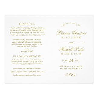 Wedding Ceremony Program | Gold Classic Elegance Flyer