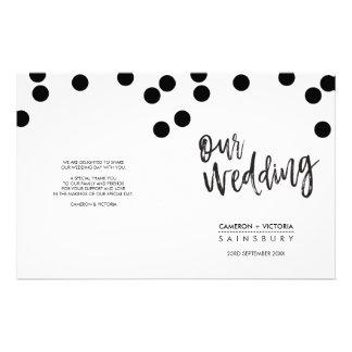 WEDDING CEREMONY PROGRAM hand lettered black spots 14 Cm X 21.5 Cm Flyer