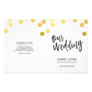 WEDDING CEREMONY PROGRAM hand lettered gold spots 14 Cm X 21.5 Cm Flyer