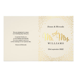 WEDDING CEREMONY PROGRAM mini gold confetti ivory Flyer