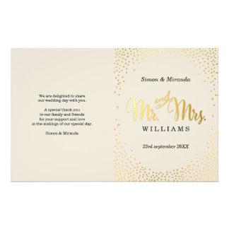 WEDDING CEREMONY PROGRAM mini gold confetti ivory Flyer