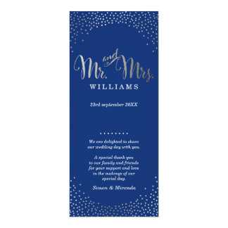 WEDDING CEREMONY PROGRAM mini silver confetti navy
