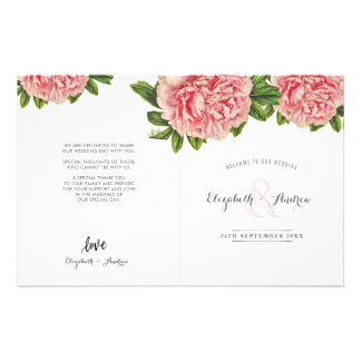 WEDDING CEREMONY PROGRAM pink floral peony flower Flyer