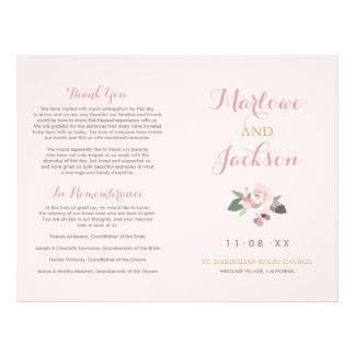 Wedding Ceremony Program | Pink Peony Flower 21.5 Cm X 28 Cm Flyer