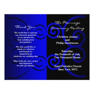 Wedding Ceremony Program Violet Blue Curve 21.5 Cm X 28 Cm Flyer