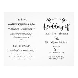 Wedding Ceremony Programs | Black Script Flyer