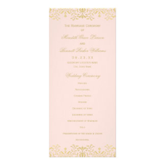 Wedding Ceremony Programs | Gold Vintage Glam Rack Card