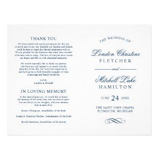 Wedding Ceremony Programs   Navy Classic Elegance 21.5 Cm X 28 Cm Flyer