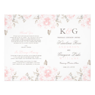 Wedding Ceremony Programs | Pink Watercolor Roses 21.5 Cm X 28 Cm Flyer