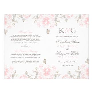 Wedding Ceremony Programs   Pink Watercolor Roses 21.5 Cm X 28 Cm Flyer