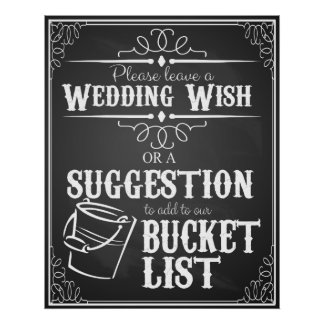 "Wedding chalkboard ""Wish list""  bucket list sign Poster"