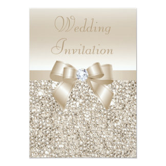 Wedding Champagne Sequins, Bow & Diamond Card