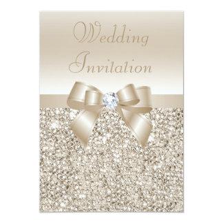 Wedding Champagne Sequins, Bow & Diamond Card
