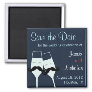 Wedding Champagne Toast Save the Date Square Magnet