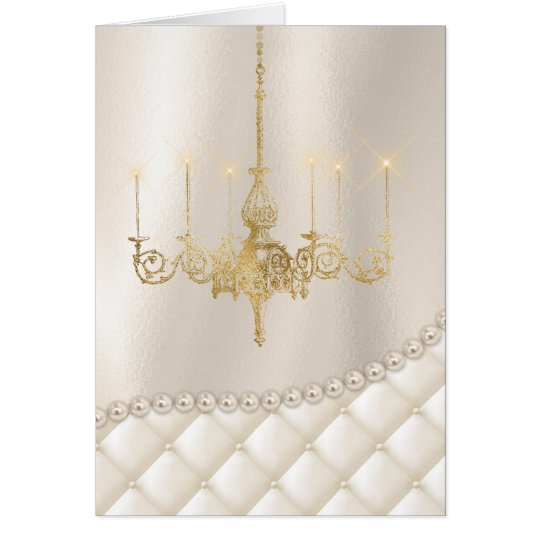 Wedding Chandelier Lighting Ivory Pearls Thank You Card