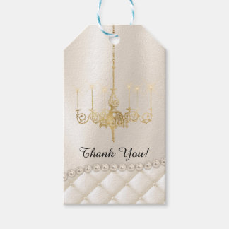 Wedding Chandelier Lighting Ivory Thank You Favor Gift Tags