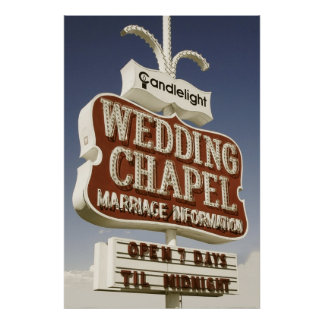 Wedding Chapel Retro Neon Sign Print