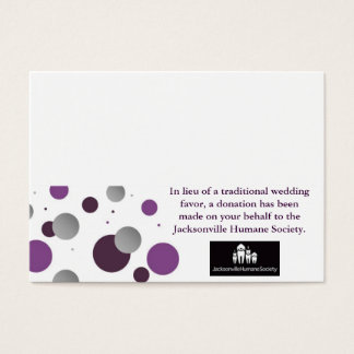 Wedding Charity Favor Card & Place Setting