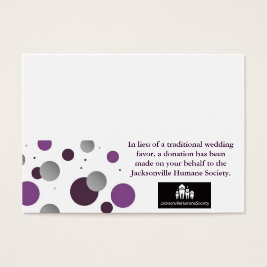 Wedding Charity Favour Card & Place Setting