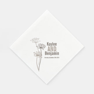 Wedding chervil / cows parsley brown paper napkin