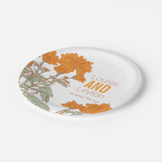 Wedding chrysanthemum orange flower custom plates 7 inch paper plate