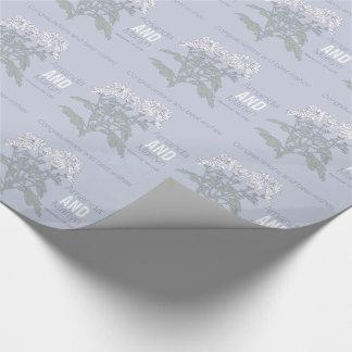 Wedding chrysanthemum white name date wrap wrapping paper