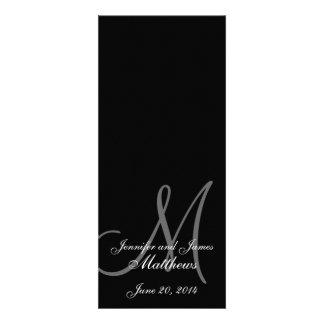 Wedding Church Program Monogram Black White Invite