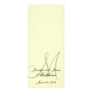Wedding Church Program Monogram Ivory Cream Custom Invite