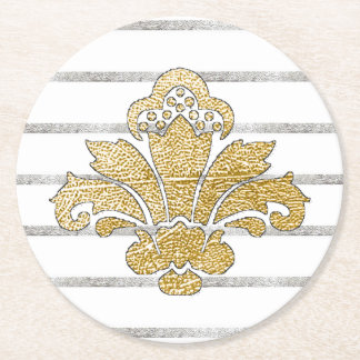 Wedding Coaster Faux Gold/Silver Damask BLACK